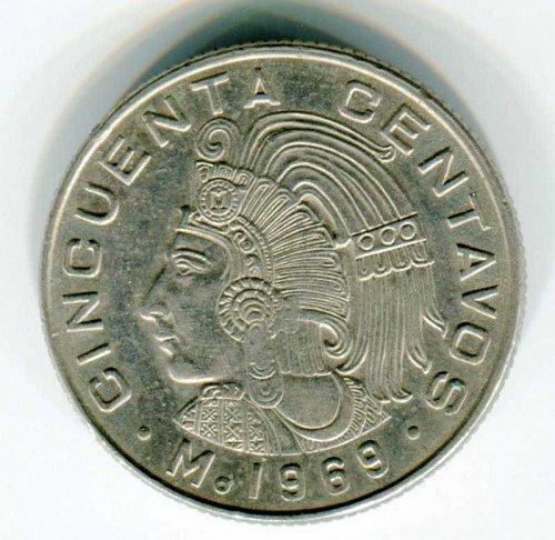 1969 Mexico 50 Cinquenta Centavos