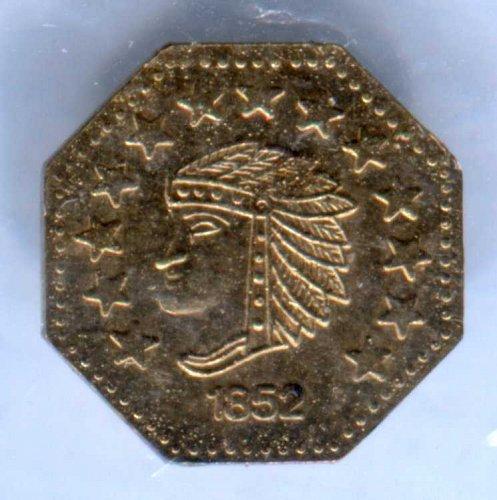 1852 California Gold 1/2 Fractional Token 24K Plated Replica