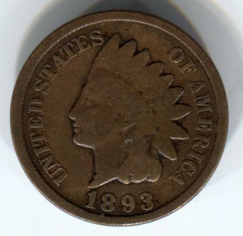 1893 P Indian Head Cent Small Cent