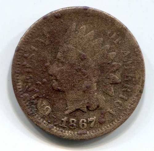 1867 P Indian Head Cent Small Cent Rare Coin Good