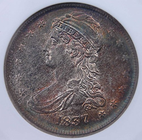 1837 REEDED EDGE CAPPED BUST HALF ANACS MS64 OUTSTANDING TONE AND LUSTER