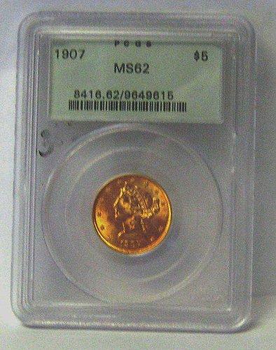 $5 Gold 1907 PCGS 62