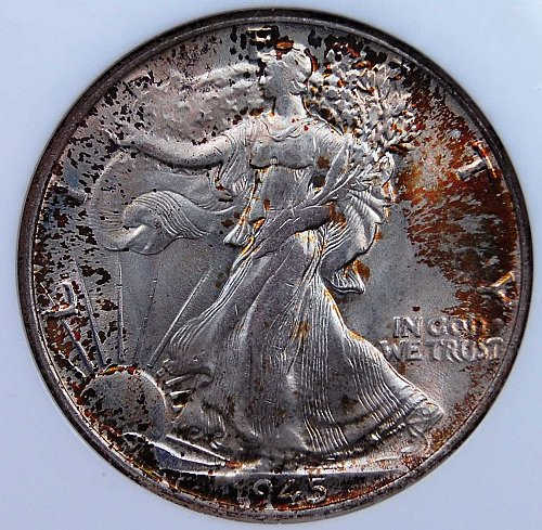 GORGEOUS AUTUMN LEAVES TONED 1945 P WALKING LIBERTY HALF NGC MS65