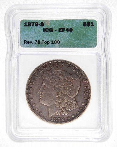 1879-S Rev. 78 Top 100 ICG EF40 Morgan S$1 * Silver * Nice Original Skin *