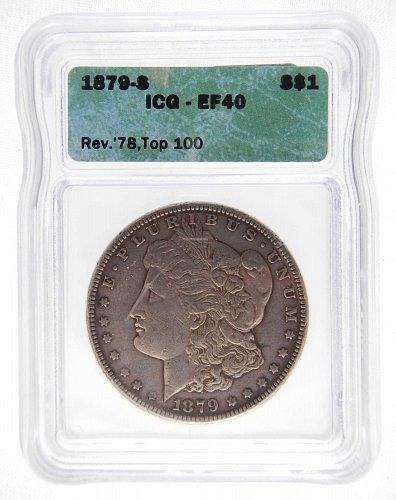1879-S Rev. 78 Top 100 ICG EF40 Morgan S$1 * Silver * Nice Original Skin *