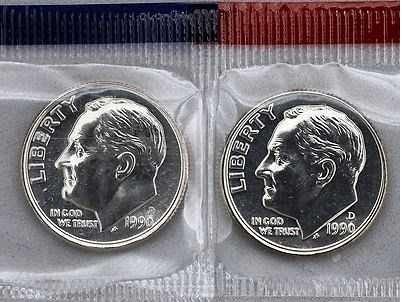 1990 P+D BU Roosevelt Dimes In US Mint Cello 2 Coin Set