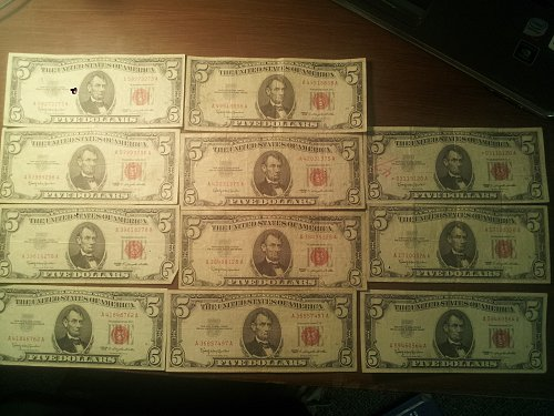 11 1963 $5 red notes
