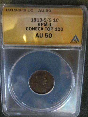 1919-S Lincoln Cent RPM-1 ANACS AU50