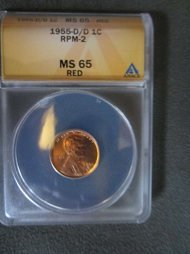 1955-D/D Lincoln Cent ANACS MS65 RED Die 2