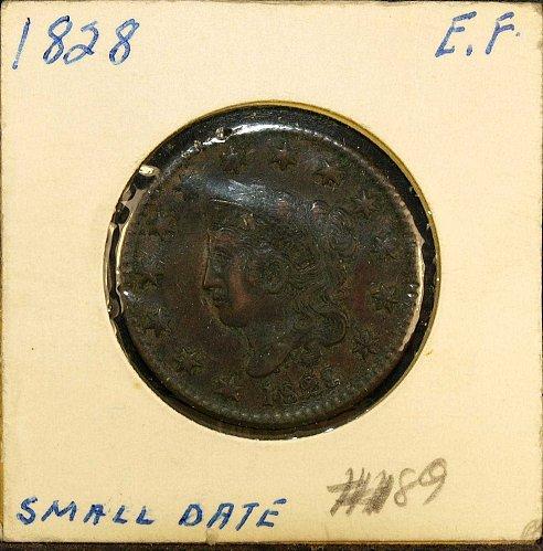 1828 Coronet cent EF-40