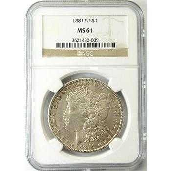 TWO COINS 1881-S Morgan Silver Dollar NGC MS61 & 1889 Morgan
