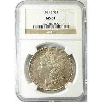 TWO COINS 1881-S Morgan Silver Dollar NGC MS61 & 1889 Morgan
