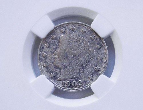 5 Cent 1902 Genuine VF Details NGC