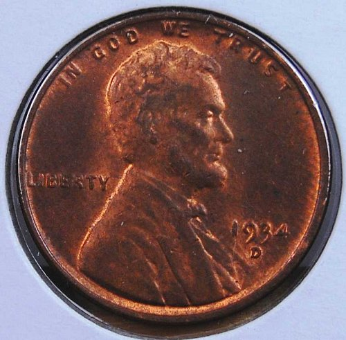 1934 D LINCOLN CENTS MS62+ RED BROWN FROM AN ORIGINAL ROLL