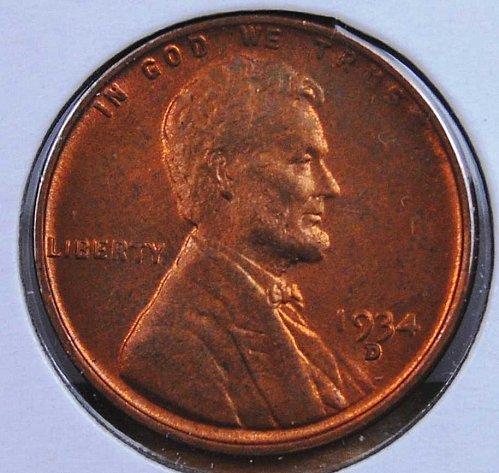1934 D LINCOLN CENTS VERY CHOICE MS64 RED BROWN NICE COLOR AND LUSTER