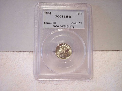 1944 MERCURY DIME GRADED MS66 BY PCGS