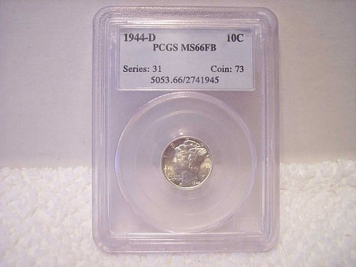 1944-D MERCURY DIME GRADED PCGS MS66FB (FULL BANDS)