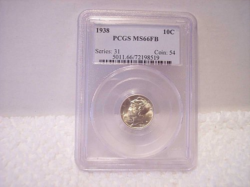 1938 MERCURY DIME GRADED PCGS MS66FB (FULL BANDS)