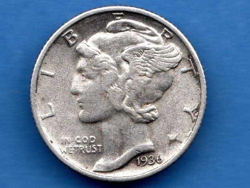 Mercury Dime 1936 Silver US Coin  NiceEx Fine