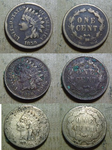 1859 Indian Head Small Cents (3 coins #04,#05,#06)
