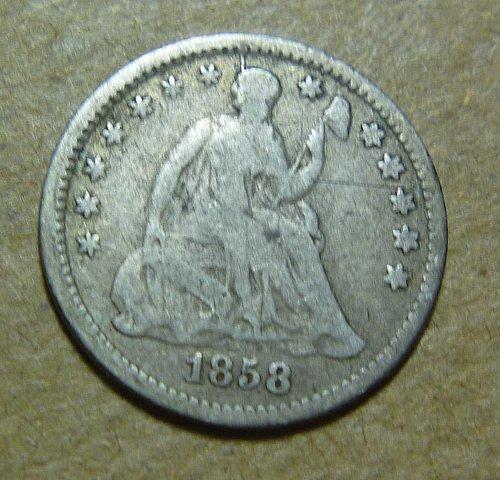 1858 O Liberty Seated Half Dime