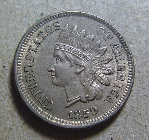 1859 Indian Head Cent Small Cents, Laurel Wreath Reverse Without Shield (#07)