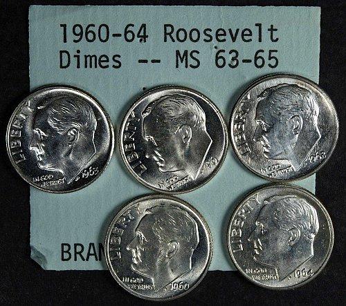 1960 - 1964 Roosevelt Dimes