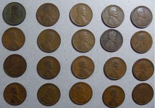 1919 Lincoln Wheat Cent - 25 coins