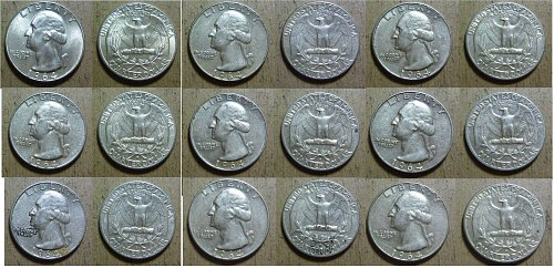 1964-D Washington Quarters (9 Coins) - Great Condition - 90% Silver