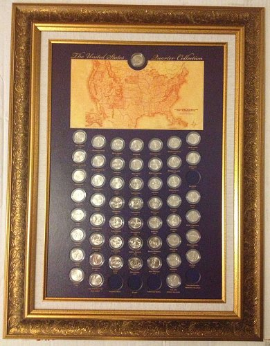 U.S. State and territory Quarters PLUS Quarter Framed Gallery !!