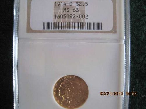 Rare 1914D Indian $2 1/2
