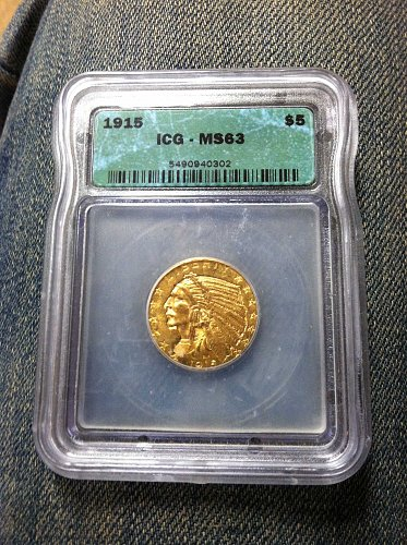 1915 P Indian Head $5 Gold