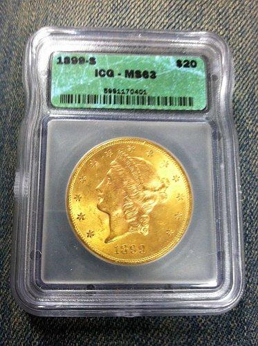 1899 S coronet head gold $20
