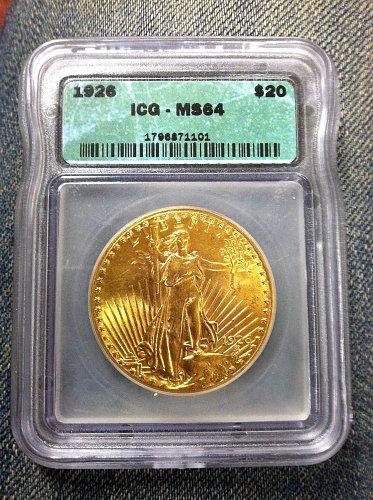 1926 P Saint Gaudens $20 Gold