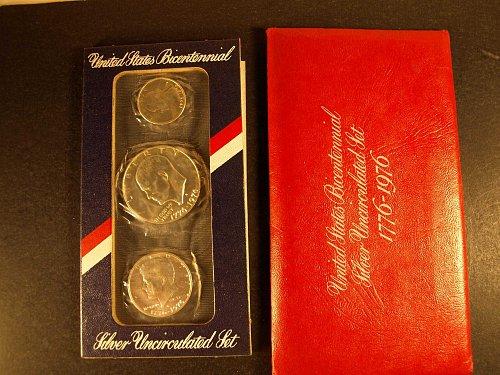 1976 P-D Uncirculated Mint Set: 3 Silver Coins