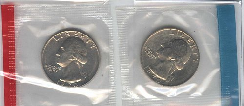 1970 Quarter Set P+D In Mint Cello BU.