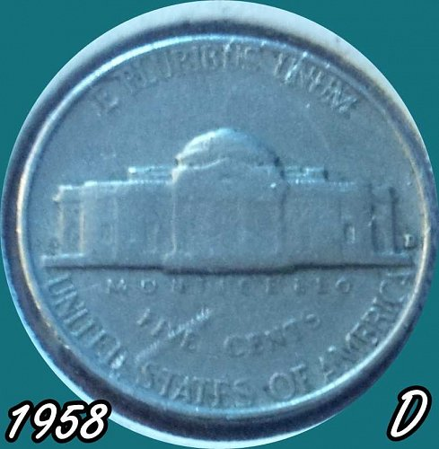 1958 D Jefferson Nickel Repunched Mint Mark    1958 D Jefferson Nickel