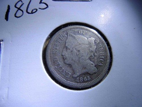 1865 P Three Cent Nickel