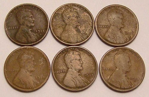 1915-D, 1916-D, 1916-S, 1917-D, 1917-S, 1918-D LINCOLN CENTS  >> G to F <<