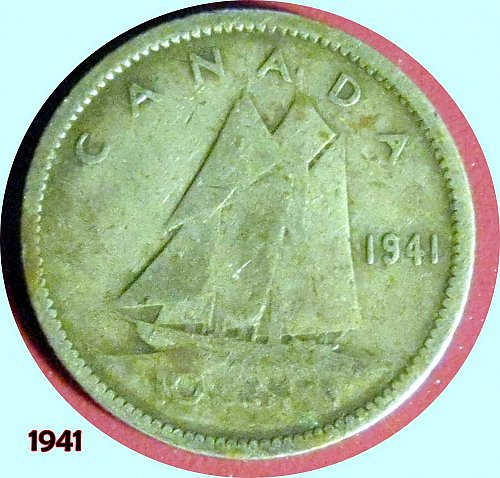 1941 CANADA DIME 10 CENTS