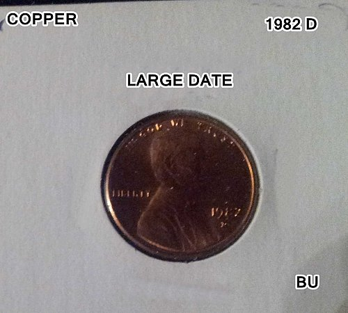 1982 D LINCOLN MEMORIAL SMALL CENT COPPER LARGE DATE