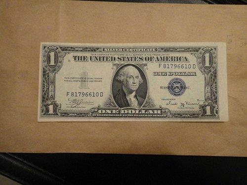 1935-B $1 Silver Certificate Very Fine-25  ERROR NOTE!