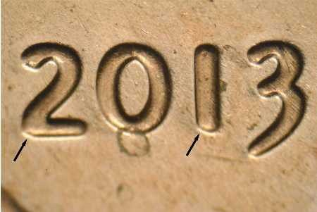2013P 1DO-003,& 2013 1¢ WDDO-002 NEW FIND VERY NICE DOUBLE DIE OBV.