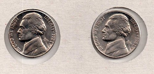 1981 P+D UNC Jefferson Nickels
