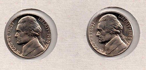 1980 p+d BU Jefferson Nickels