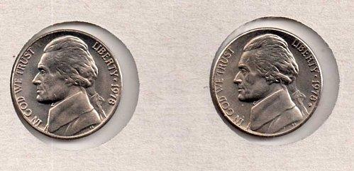 1978 p+d BU Jefferson Nickels