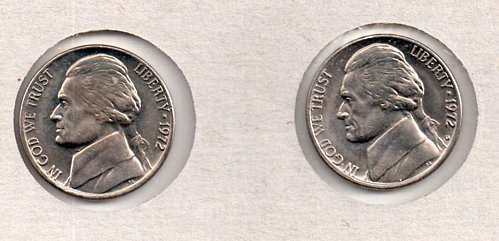 1972 p+d BU Jefferson Nickels