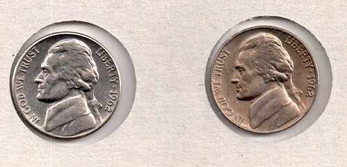 1962 p+d UNC Jefferson Nickels