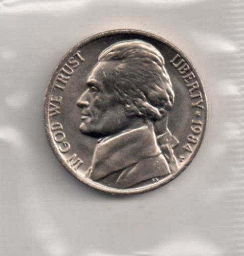 1984 p BU Jefferson Nickel