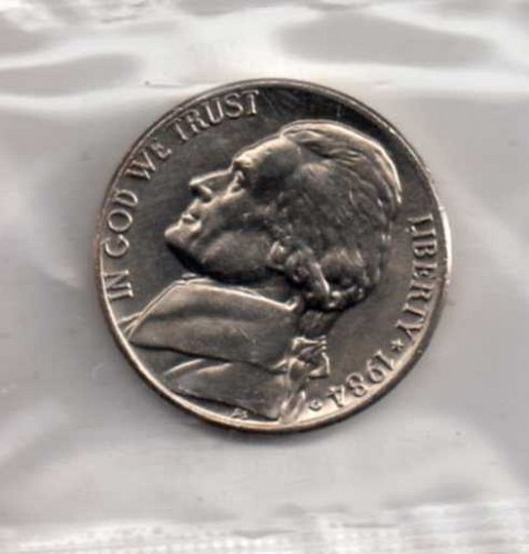 1984 d BU Jefferson Nickel